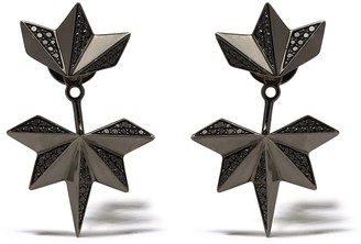 Colette 18kt Black Gold Diamond Drop Spike Earrings