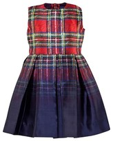 Oscar de la Renta Red Degrade Tartan Party Dress