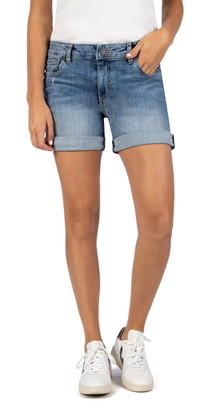 KUT from the Kloth Chloe Boyfriend Roll-Up Denim Shorts