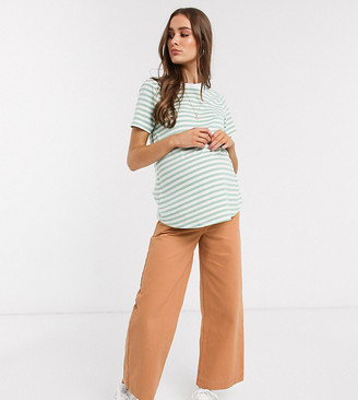 ASOS DESIGN Maternity high rise 'easy' wide leg jean in washed tobacco