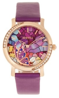 Bertha Quartz Vanessa Purple Genuine Leather Watch, 36mm