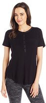 NYDJ Women's Short Sleeve Knit Henley Tee