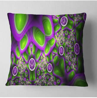 "Designart Green Purple Exotic Pattern Abstract Throw Pillow - 18"" X 18"""