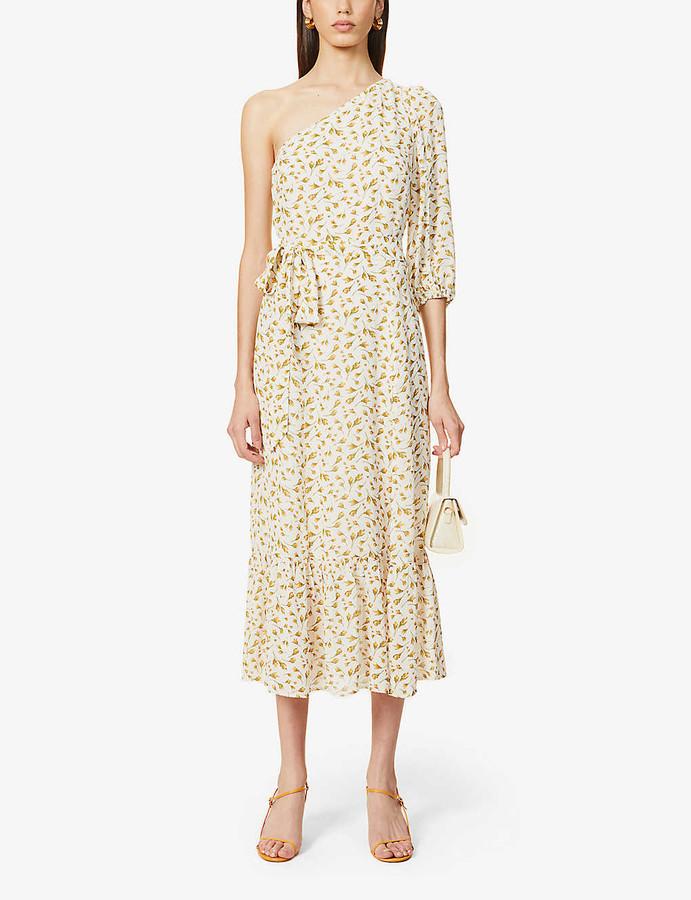 Reformation Freeport one-shoulder floral-print crepe midi dress