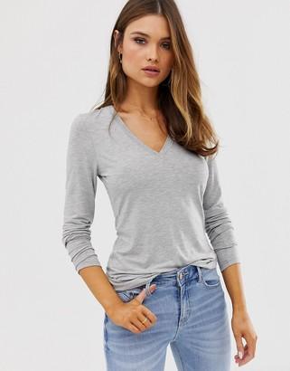 Asos DESIGN v neck long sleeve t-shirt in grey marl
