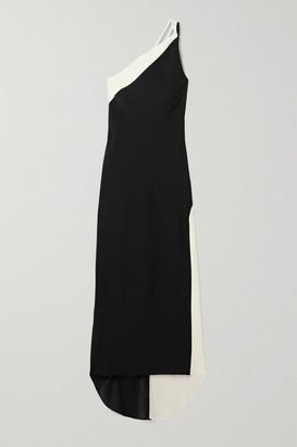 De La Vali Evita One-shoulder Two-tone Crepe Gown - Black