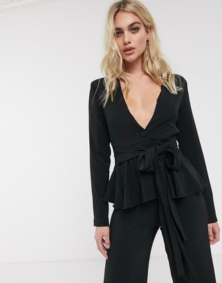 UNIQUE21 tie front tailored blazer
