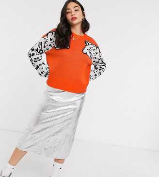 Noisy May sweater with leopard sleeves in orange