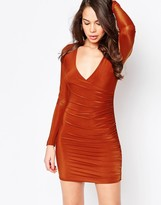 AX Paris V Neck Ruched Dress in slinky