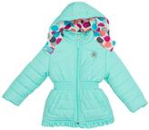 Pink Platinum Seafoam Big Dot Puffer Jacket - Infant & Girls