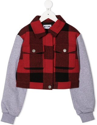 MOSCHINO BAMBINO TEEN embroidered logo check patterned jacket