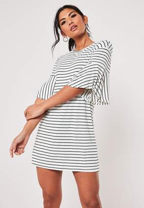 Missguided White Stripe Frill Sleeve T Shirt Dress