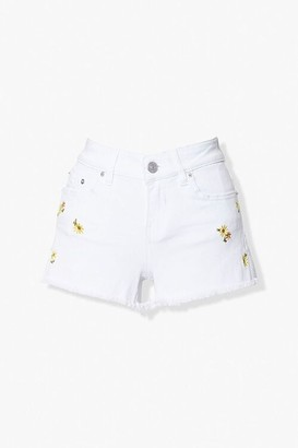 Forever 21 Floral Embroidered Denim Shorts