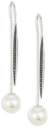 Yoko London 18K White Gold, 13-14MM Australian Southsea Pearl & Diamond Threader Earrings