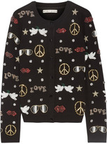 Alice + Olivia Kym Embellished Stretch-wool Cardigan - Black
