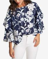 1 STATE 1.STATE Printed Tiered-Sleeve Top
