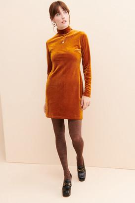 Glamorous Rust Velvet Mini Dress