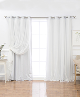 Best Home Fashion Vapor Tulle Overlay Blackout Curtain Panel Set
