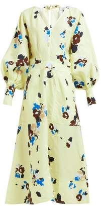 Lee Mathews - Dolores Floral-print Midi Dress - Womens - Yellow Multi