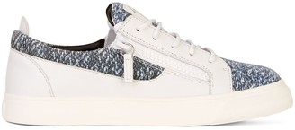 Giuseppe Zanotti Denim-Panel Low-Top Sneakers