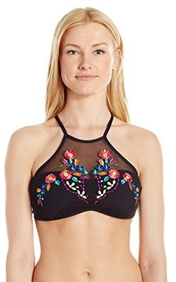 Kenneth Cole Reaction Women's Garden Groove Floral Embroidery High Neck Bra Bikini Top