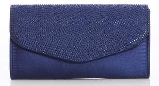 Quiz Navy Diamante Clutch Bag