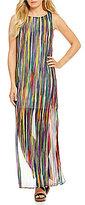 Sangria Stripe Maxi Chiffon Dress
