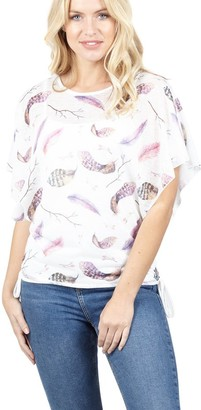 M&Co Izabel feather print batwing top
