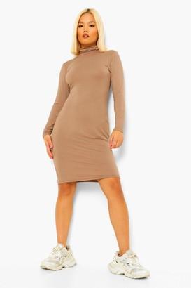 boohoo Petite High Neck Side Split Midi Dress