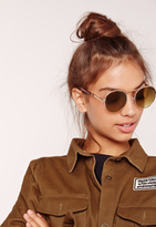 Missguided Rounded Edge Sunglasses Gold