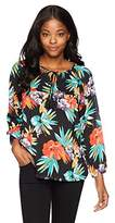 Margaritaville Women's 3/4 Sleeve Tropical Nights Blouse