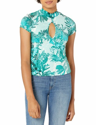 GUESS Women's Willow Short Sleeve Keyhole Top
