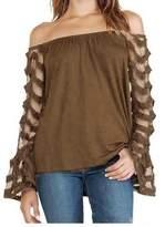 Tenworld Women Loose T-shirt Tops Long Sleeve Off Shoulder Shirt Blouse (2XL, )