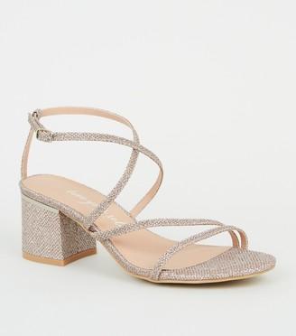 New Look Wide Fit Glitter Flared Block Heels
