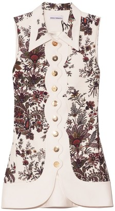 Paco Rabanne Floral Collared Sleeveless Blouse in Ivory Paisley