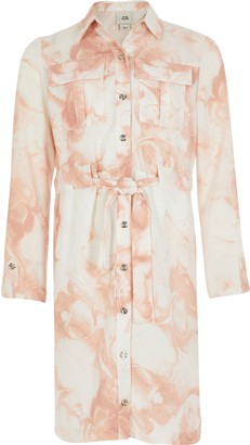 River Island Girls Pink marble printed belted shirt dress