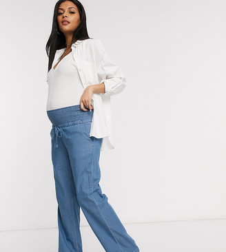 Mama Licious Mamalicious Maternity denim pants with wide leg in blue