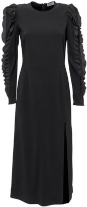 RED Valentino Ruffled Sleeve Satin Dress