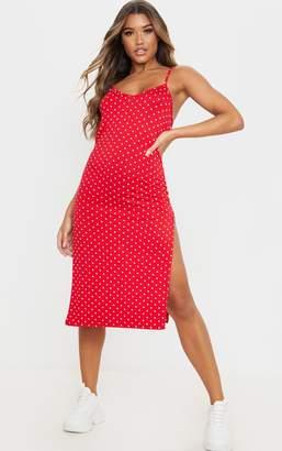 PrettyLittleThing Camel Stripe Jersey Split Midi Dress