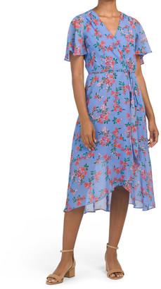 Chiffon Floral Midi Dress With Hi-lo Hem