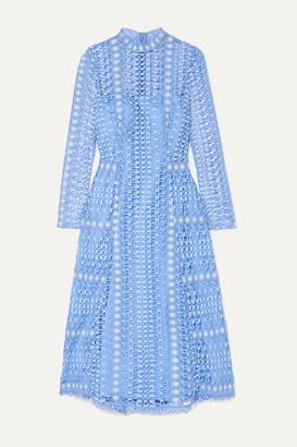 Temperley London Guipure Lace Midi Dress - Light blue