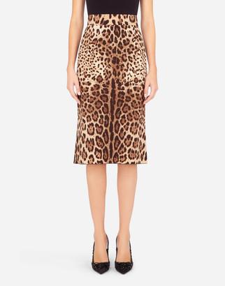 Dolce & Gabbana Leopard-Print Charmeuse Calf-Length Pencil Skirt