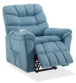 Latitude Run Borislav Power Lift Assist Recliner with Massage and Heating Fabric: Blue
