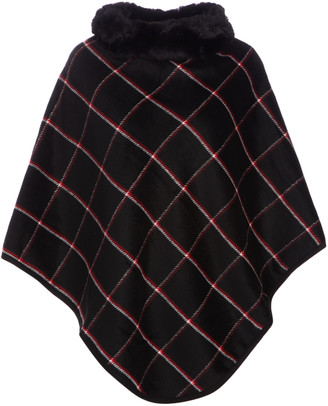 Lvs Collections LVS Collections Women's Ponchos BLACK - Black & Red Windowpane Plaid Faux-Fur Collar Poncho - Women
