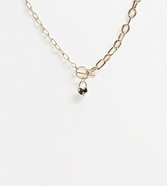 Asos DESIGN Curve t bar necklace with heart locket pendant in gold tone