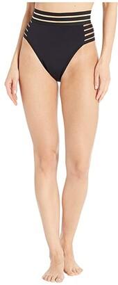 Vince Camuto Coastlines Mesh Elastic High-Waist High Leg Bikini Bottoms