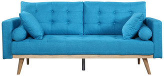 Mid-Century MODERN Casa Divina Tufted Linen Fabric Sofa, Light Blue