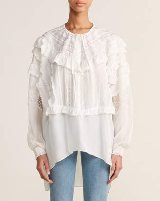 Faith Connexion Off White Lace Ruffle Silk Tunic Shirt