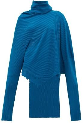 Marques Almeida Marques'almeida - Asymmetric Roll-neck Ribbed Merino-wool Sweater - Womens - Blue