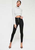 Missguided Black High Waisted Zip Front Skinny Jeans